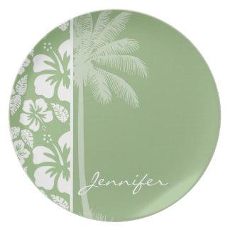 Hibisco tropical hawaiano verde del laurel; Palma Plato De Comida