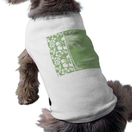 Hibisco tropical hawaiano verde del laurel; Palma Camiseta De Mascota