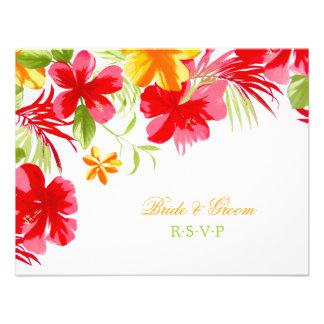Hibisco tropical que casa la tarjeta de RSVP Invitación Personalizada