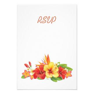 Hibisco tropical que casa la tarjeta de RSVP Comunicado Personal