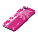 Hibisco tropical rosado brillante iPhone 5 carcasas