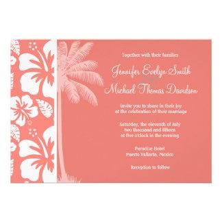 Hibisco tropical rosado coralino Palma del verano