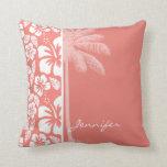 Hibisco tropical rosado coralino; Palma del verano Almohada