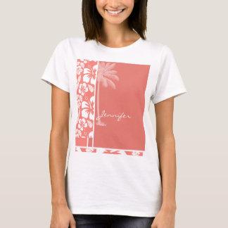 Hibisco tropical rosado coralino; Palma del verano Playera
