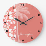 Hibisco tropical rosado coralino; Palma del verano Relojes De Pared