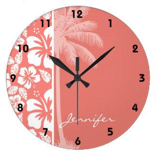 Hibisco tropical rosado coralino; Palma del verano Reloj Redondo Grande
