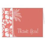 Hibisco tropical rosado coralino; Palma del verano Tarjeton