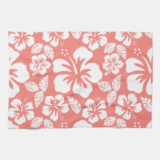 Hibisco tropical rosado coralino toalla de mano