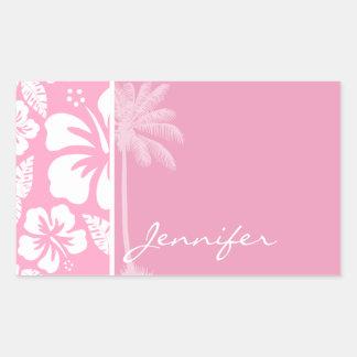 Hibisco tropical rosado del clavel; Palma del Pegatina Rectangular