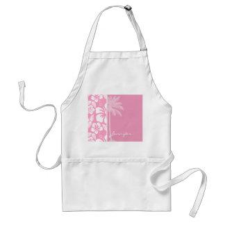 Hibisco tropical rosado del clavel; Palma del vera Delantal