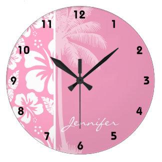 Hibisco tropical rosado del clavel; Palma del vera Reloj Redondo Grande