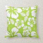 Hibisco tropical verde cítrico cojin