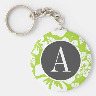 Hibisco tropical verde cítrico llaveros personalizados