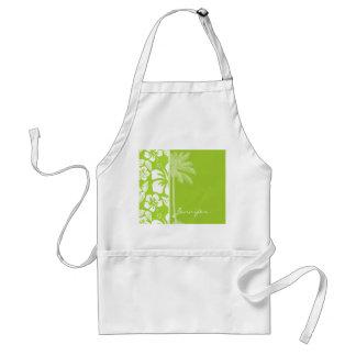 Hibisco tropical verde cítrico; Palma del verano Delantal