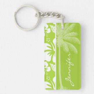 Hibisco tropical verde cítrico Palma del verano Llavero