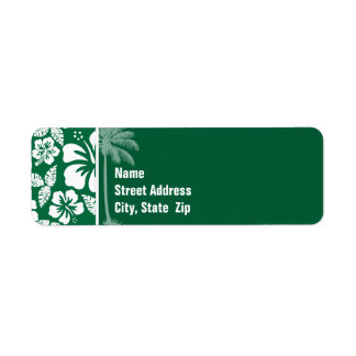 Hibisco tropical verde del cadmio Palma Etiquetas De Remite