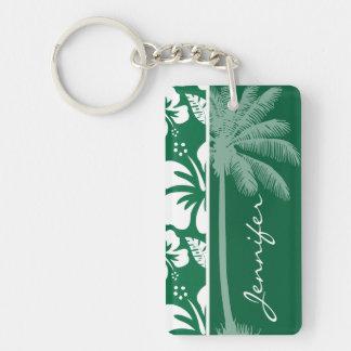 Hibisco tropical verde del cadmio Palma Llaveros