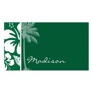 Hibisco tropical verde del cadmio; Palma Tarjetas De Visita
