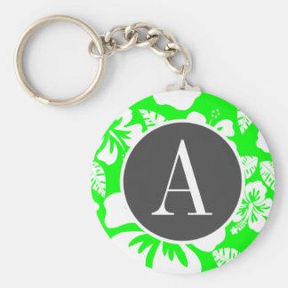 Hibisco tropical verde eléctrico llavero personalizado