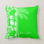 Hibisco tropical verde eléctrico; Palma Almohadas