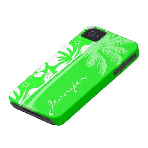 Hibisco tropical verde eléctrico; Palma iPhone 4 Carcasas