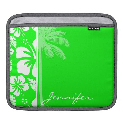 Hibisco tropical verde eléctrico; Palma Manga De iPad