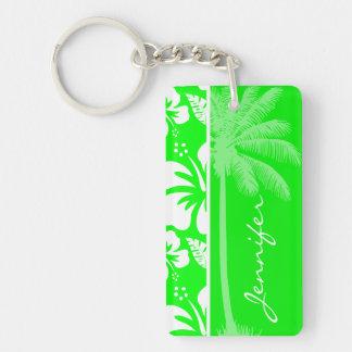 Hibisco tropical verde eléctrico Palma Llavero