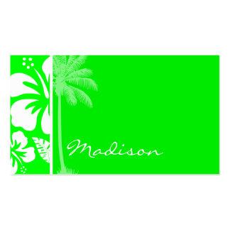Hibisco tropical verde eléctrico; Palma Tarjetas De Visita