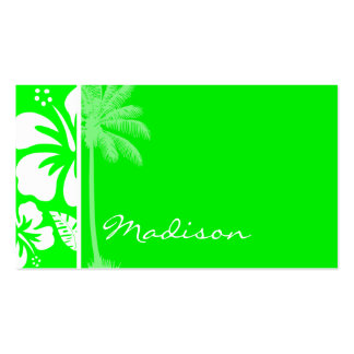 Hibisco tropical verde eléctrico; Palma Tarjeta De Visita