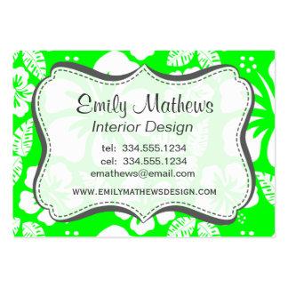 Hibisco tropical verde eléctrico plantilla de tarjeta personal