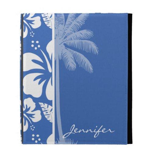 Hibisco tropical y palma del azul cerúleo