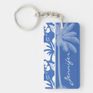 Hibisco tropical y palma del azul cerúleo llavero rectangular acrílico a doble cara