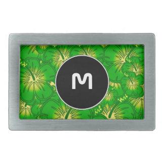 Hibisco verde hebillas cinturón rectangulares
