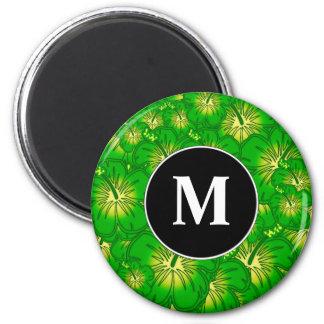 Hibisco verde imán redondo 5 cm