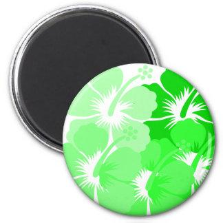 Hibisco verde mezclado imán redondo 5 cm