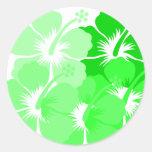 Hibisco verde mezclado pegatina redonda