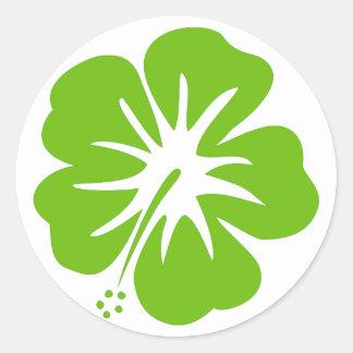 Hibisco verde pegatina redonda