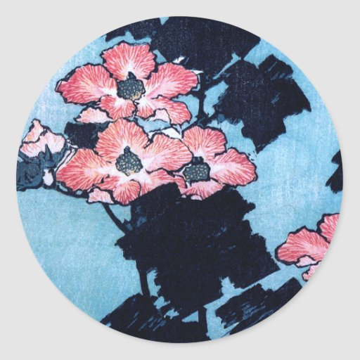 Hibisco y gorrión, Hokusai Pegatina Redonda