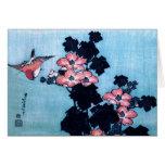 Hibisco y gorrión, Hokusai Tarjetas