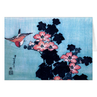 Hibisco y gorrión Hokusai Tarjetas