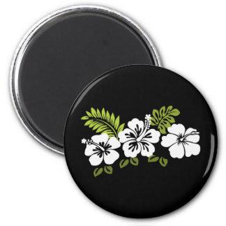 Hibisco y hojas blancos imán redondo 5 cm