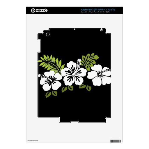 Hibisco y hojas blancos iPad 3 pegatinas skins