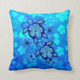 Hibisco y tortugas azules de Honu Cojín