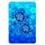 Hibisco y tortugas azules de Honu Iman De Vinilo