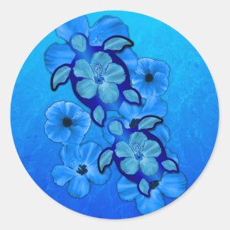 Hibisco y tortugas azules de Honu Pegatina Redonda