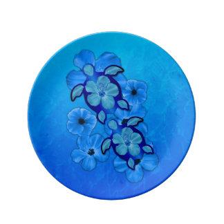 Hibisco y tortugas azules de Honu Platos De Cerámica
