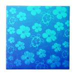 Hibisco y tortugas azules de Honu Tejas Cerámicas