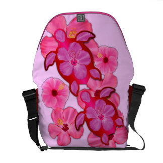 Hibisco y tortugas rosados de Honu Bolsa Messenger