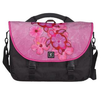 Hibisco y tortugas rosados de Honu Bolsas De Portátil