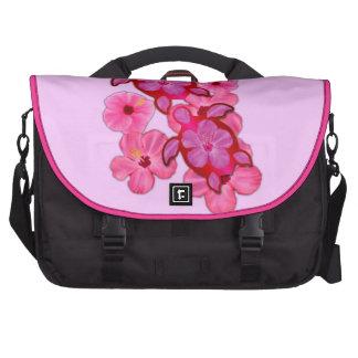 Hibisco y tortugas rosados de Honu Bolsas De Ordenador